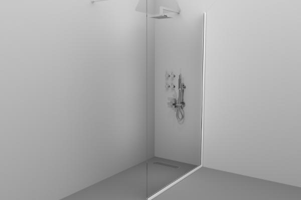 Paravan de duș Alux 100x190 - sticlă securizată, profil alb