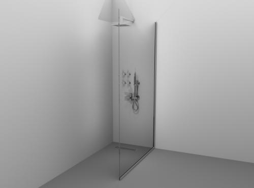 Paravan de duș Alux 80x190 - sticlă securizată, profil brill