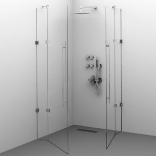 Cabină de duș Alux 80x80 cu 2 uși - sticlă securizată