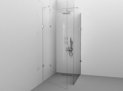 Cabină de duș Alux Premium de tip L 120x90 - sticlă securizată