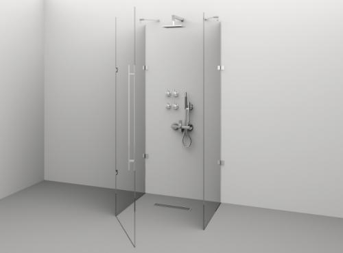Cabină de duș Alux Premium de tip U 100x80 - sticlă securizată